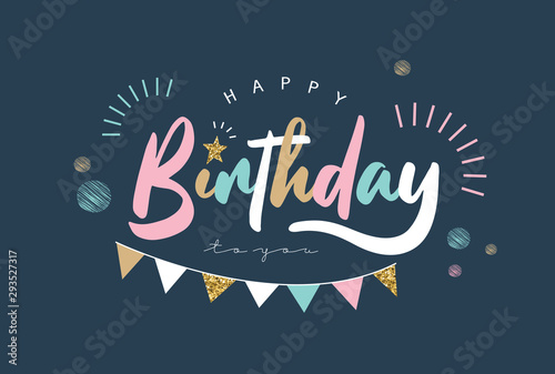 Happy Birthday typography vector design for greeting cards and poster Wallpaper Mural