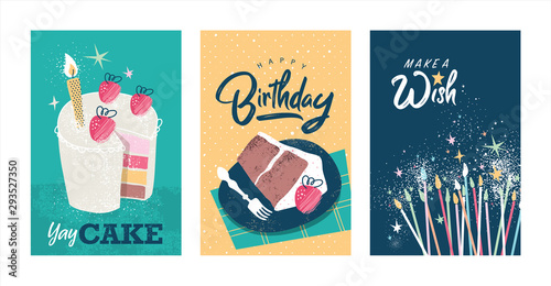 Foto Set of birthday greeting cards design