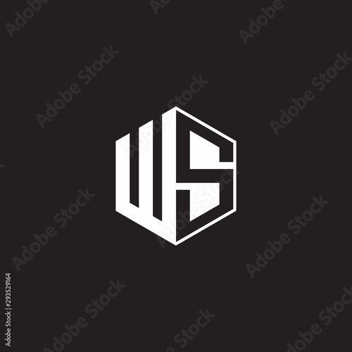 WS Logo monogram hexagon with black background negative space style Canvas