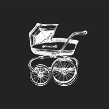 Baby Carriage Vector Illustration On Black Background. Sketch Drawing Of Pram.