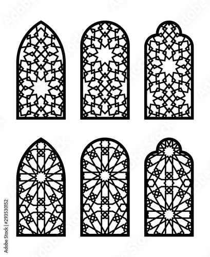 Canvastavla  Islamic arch window or door set