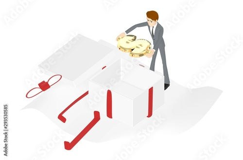 3d character , man holding a golden dollar symbol / unwrapped gift box Tablou Canvas