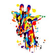 Giraffe Colored Brush Stroke, ...