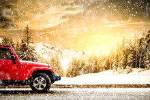 Red Winter Car And Snow Flakes...