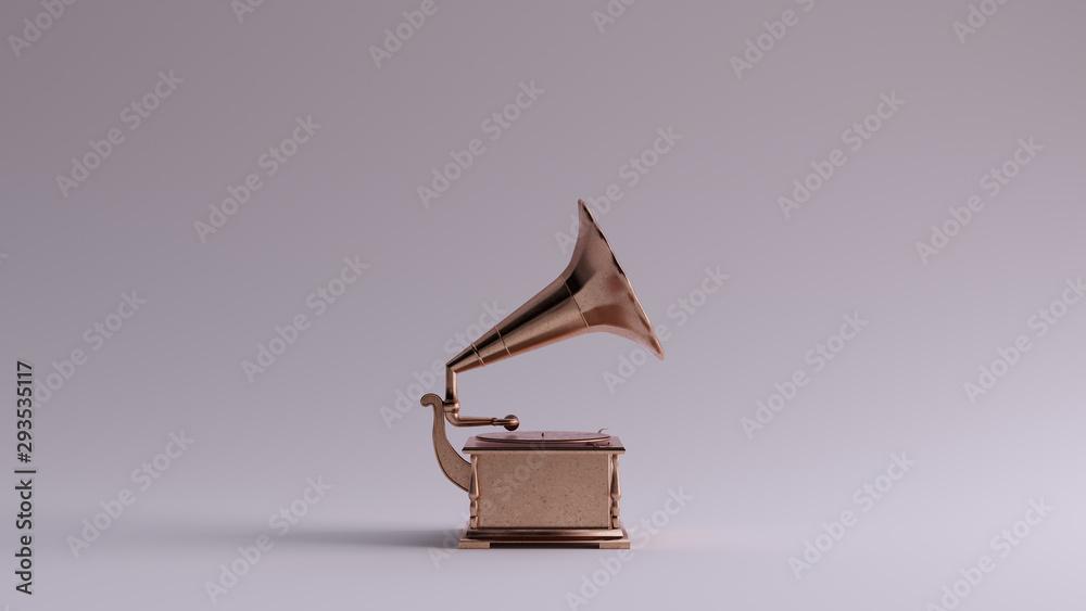 Fototapety, obrazy: Bronze Vintage Gramophone Right View 3d illustration 3d render