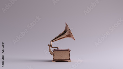 Fotografía Bronze Vintage Gramophone Right View 3d illustration 3d render