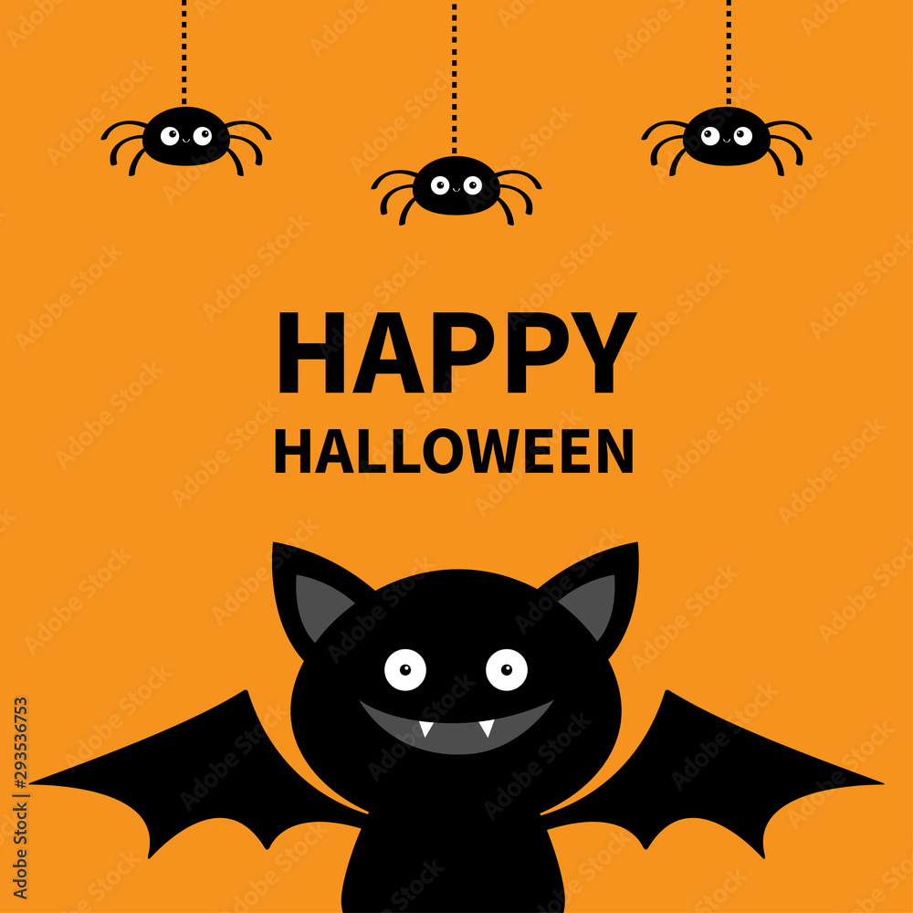 Fototapeta Happy Halloween. Three hanging spiders and bat. Cute cartoon kawaii funny baby character with open wings. Black silhouette. Forest animal. Flat design. Orange background. Isolated. Greeting card.