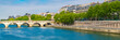 canvas print picture -      Paris, view of the Pont-Neuf and the ile de la Cité, with houseboats and beautiful facades