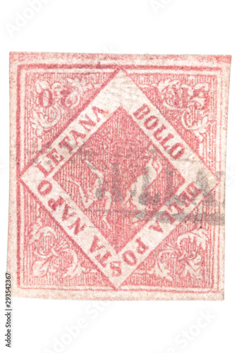 Valokuvatapetti Postal forgery of the 1858 Kingdom of Naples 20 Grana stamp isolated on white background