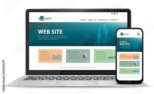 Fotografía Responsive Website Design With Laptop Computer and Mobile Phone Screen Vector Illustration