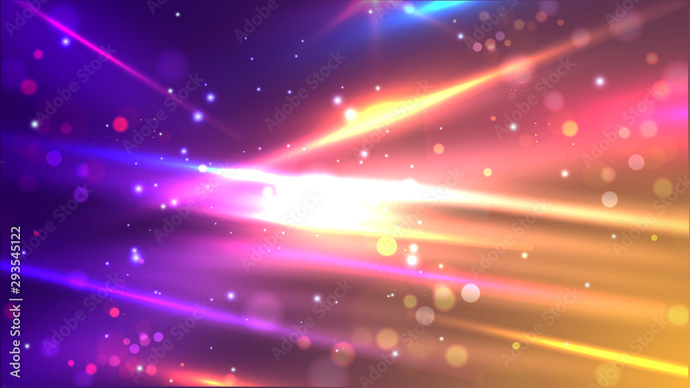 Fototapeta Shiny colourful speed lines on abstract bokeh motion background for futuristic technology concept.