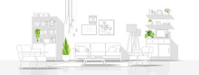 Interior Design With Modern Living Room In Black Line Sketch On White Background , Vector , Illustration