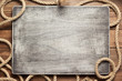 Leinwanddruck Bild - ship rope at wooden board background