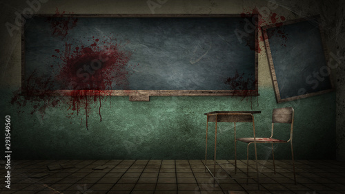 horror and creepy classroom in the school with blood Wallpaper Mural