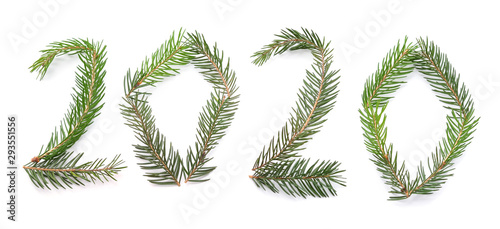 Two thousand twelfth year lined with Christmas tree.