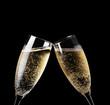 Leinwanddruck Bild - Two glasses of champagne toasting isolated