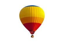 Colorful Hot Air Balloon Isolated On White Background, With Clipping Path