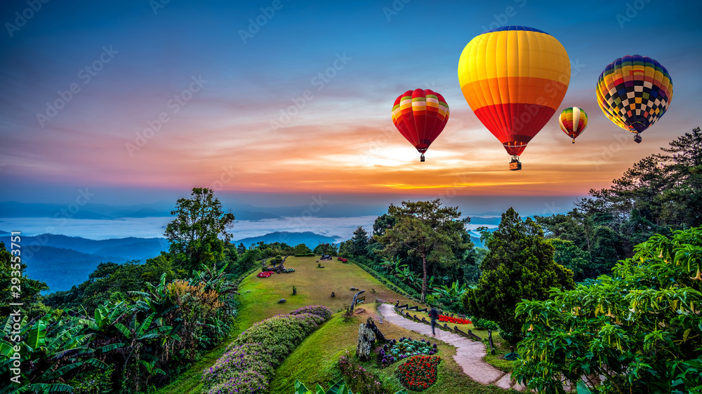 Fototapety, obrazy: Hot air balloons adventure in nature over winter mountain in Chiang Mai, Thailand.