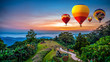 Hot air balloons adventure in nature over winter mountain in Chiang Mai, Thailand.