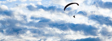 Silhouette Of Skydiver With Pa...