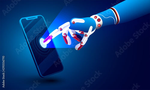Obraz 3d illustration of robotic hand clicking on smartphone for Artificial intelligence(AI) concept. - fototapety do salonu