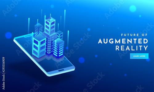 Skyscrapers illustration on smartphone screen with abstract elements on shiny blue background for Augmented Reality (AR) concept Wallpaper Mural