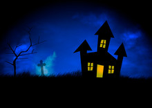 A Haunted House Is Sillhouetted Against A Stormy Blue Sky - A Spooky Headstone And Tree Are Nearby