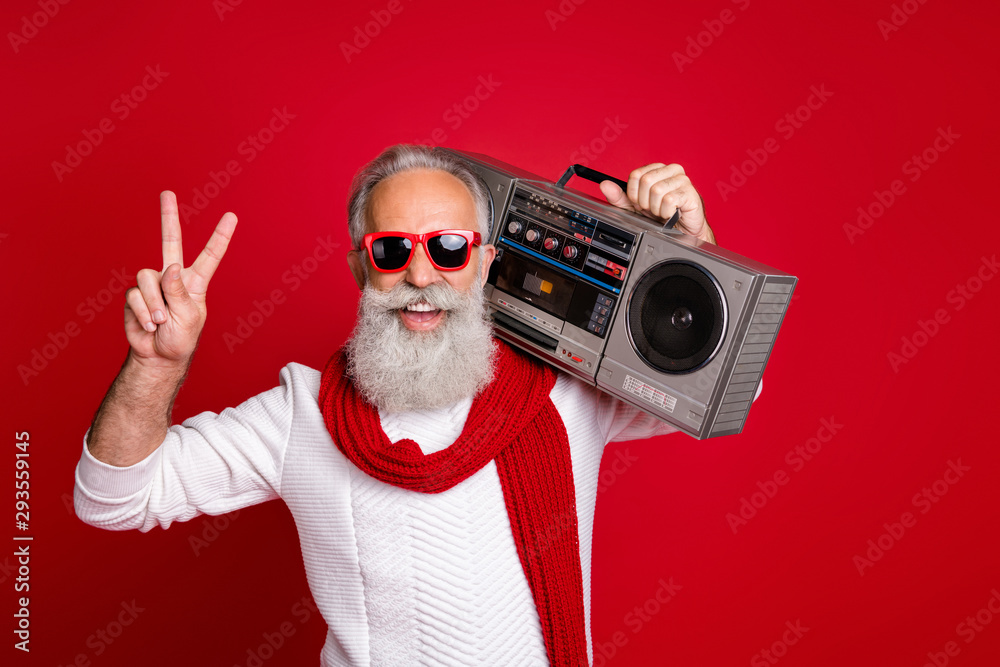 Fototapety, obrazy: Portrait of his he nice handsome cheerful cheery positive carefree gray-haired man in pullover sweater having fun vintage festive showing v-sign isolated over bright vivid shine red background