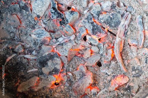Fotografia, Obraz Coal burned and smoldered. Ashes stays and smolders, Ashes stays