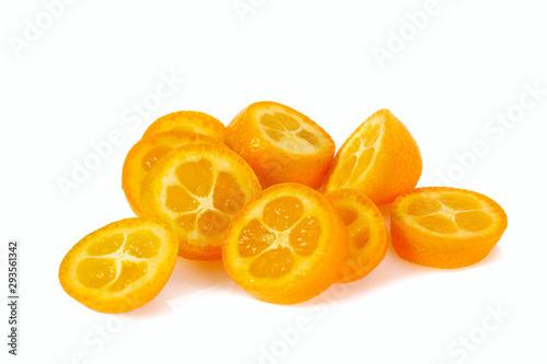 fresh kumquat fruit isolated on white background - 293561342