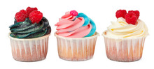 Three Yummy Cupcakes With Icin...