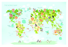 Vector Map Of The World With C...