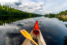 Canoeing On A Lake In Sweden