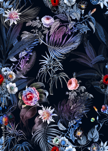 Seamless tropical flower pattern, watercolor.Flowers pattern. for textile, wallpaper, pattern fills, covers, surface, print, gift wrap, scarf, decoupage. Seamless pattern - 293565513