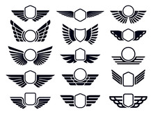 Winged Frames. Flying Bird Shield Emblem, Eagle Wings Badge Frame And Retro Aviation Fast Wing Symbol Vector Set