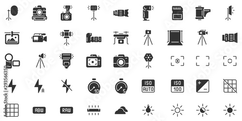 Obraz Photo camera silhouette icon. Photography cameras shutter speed, aperture and digital camera exposure black stencil icons vector set - fototapety do salonu