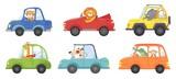 Fototapeta Fototapety na ścianę do pokoju dziecięcego - Cute animals in funny cars. Animal driver, pets vehicle and happy lion in car kid vector cartoon illustration set