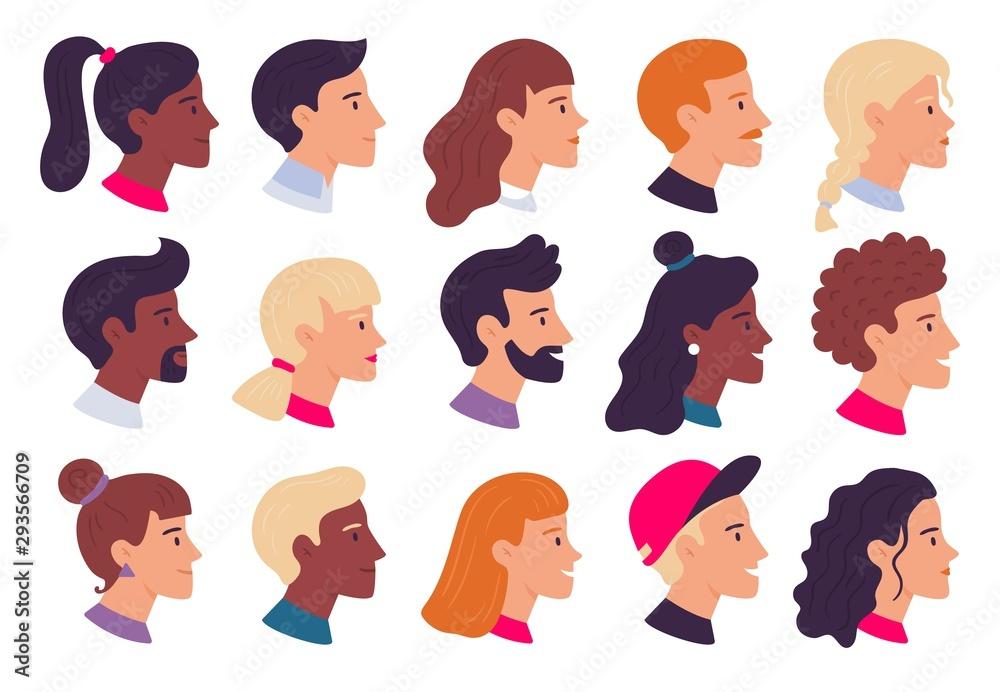 Fototapeta Profile people portraits. Male and female face profiles avatars, side portrait and heads flat vector illustration set
