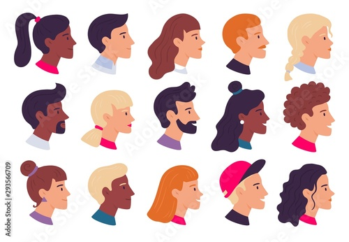 Profile people portraits. Male and female face profiles avatars, side portrait and heads flat vector illustration set - fototapety na wymiar
