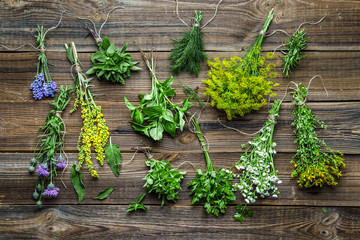 Panel Szklany Przyprawy Fresh herbs bunch on wooden background