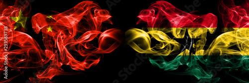 China vs Ghana, Ghanaian smoke flags placed side by side Canvas Print