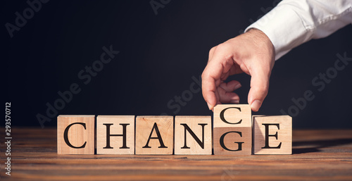 Fotografía  Change to Get Chance Concept with Wooden Blocks