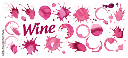 Valokuvatapetti Set of vector splashes of red wine on white background