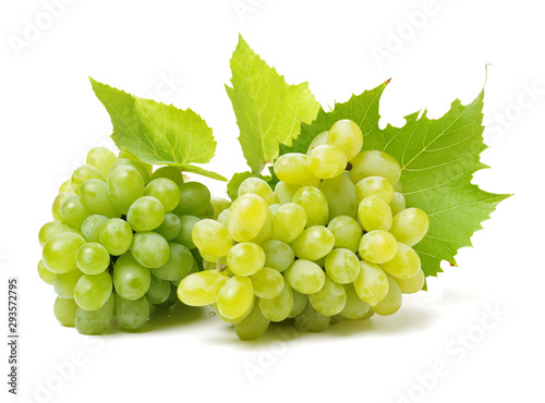 Green grapes on white background Fotobehang