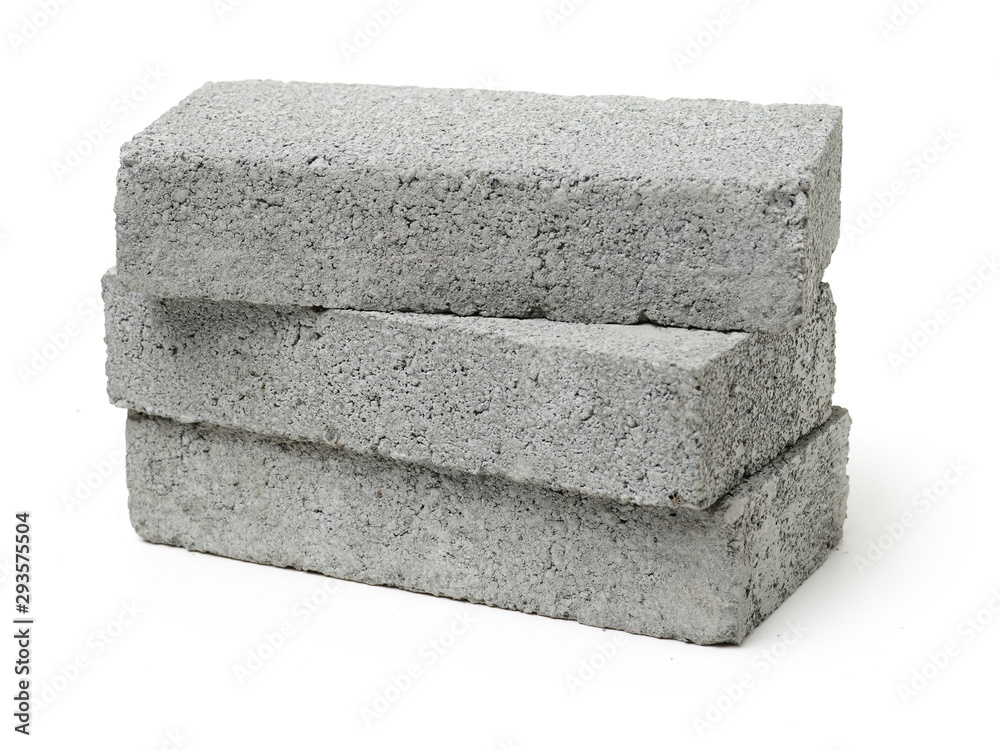 Fototapeta Gray cement solid brick isolated on a white background