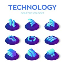 Isometric Technology Icons Set. Data Transfer, Wi-Fi, Plug And Socket, Gears, Update, Settings, Server, Cloud, Camera Isometric Icons. Created For Mobile, Web, Decor, Application. Vector Illustration.