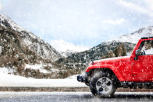 Red Winter Car With Mountains ...
