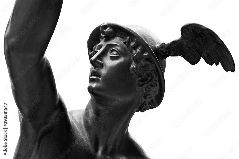 Fototapety, obrazy: Ancient statue of the antique god of commerce, merchants and travelers Hermes - Mercury. He is olympic gods messenger with wings on a helmet. Sculpture isolated on white background by clipping path