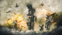 Battlefield War Concept, Soldiers Atack Helicopter And Explosions