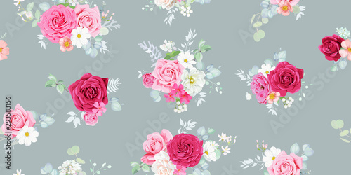 Shabby chic seamless pattern with pretty marsala and blush roses, decorated w...